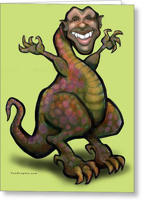 Obama Saurus Rex Greeting Card by Kevin Middleton