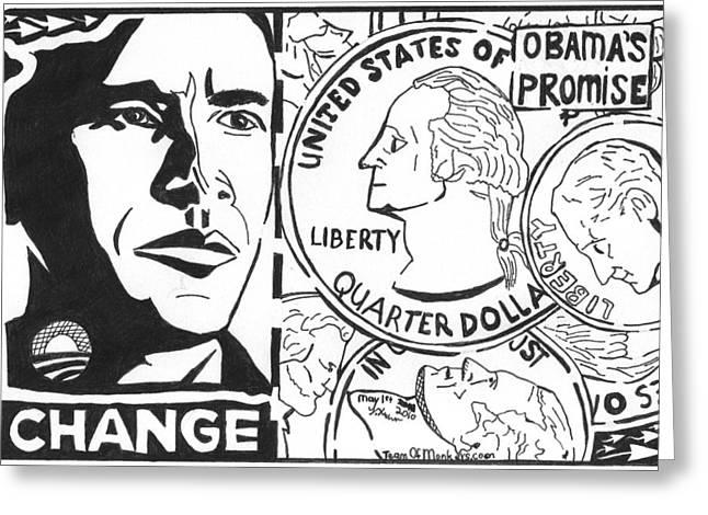 Obama's Promise Greeting Card by Yonatan Frimer Maze Artist