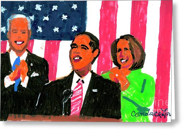 Obama's State Of The Union '10 Greeting Card by Candace Lovely
