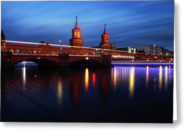 Oberbaum Bridge At Sunset Greeting Card