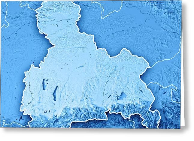 Oberbayern Regierungsbezirk Bayern 3d Render Topographic Map Blu Greeting Card