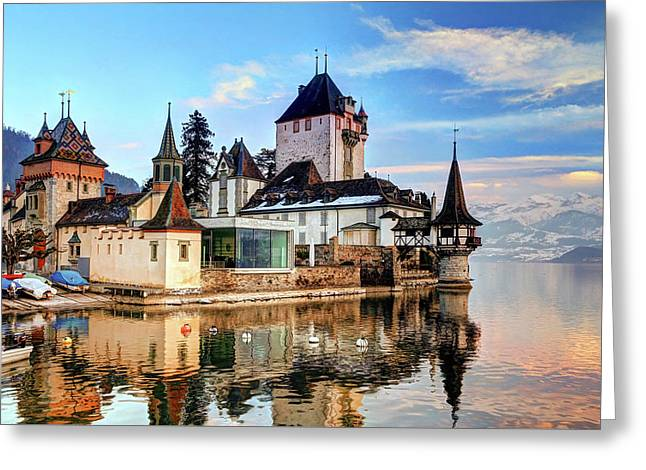 Oberhofen Castle Greeting Card by Hans Wolfgang Muller Leg