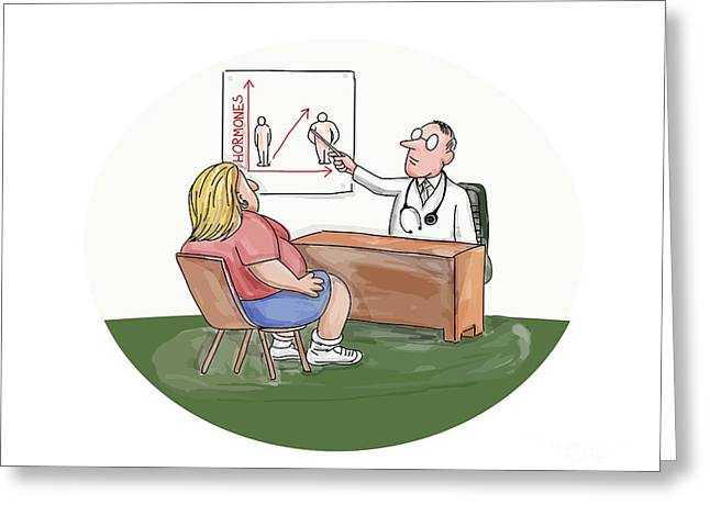 Obese Woman Patient Doctor Caricature Greeting Card