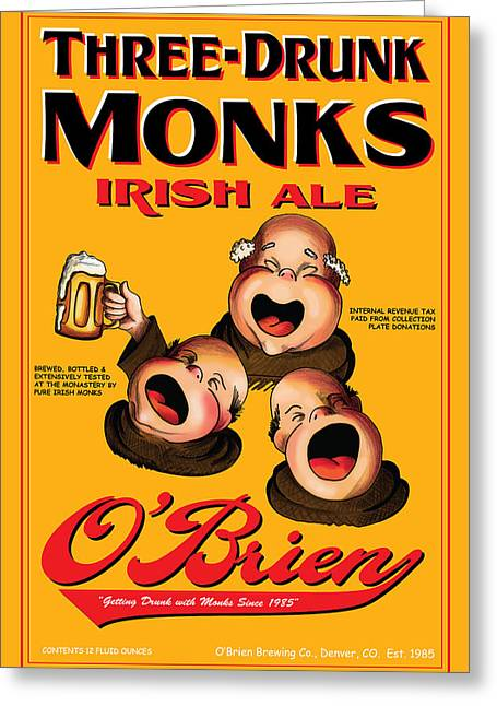 O'brien Three Drunk Monks Greeting Card by John OBrien