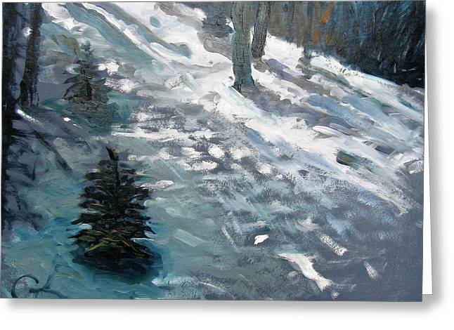 Greeting Card featuring the painting Observing Snow by Gary Coleman