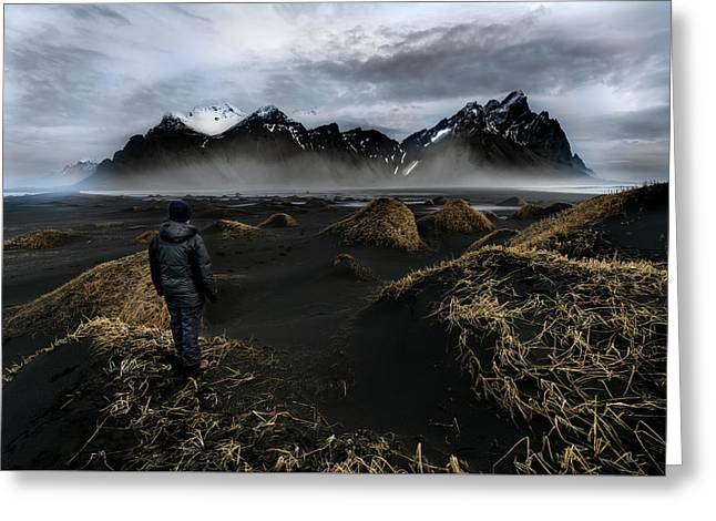 Observing The Beauty Of Iceland Greeting Card by Larry Marshall