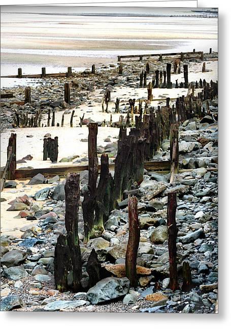 Obsolete Sea Defences At Llanfairfechan Greeting Card