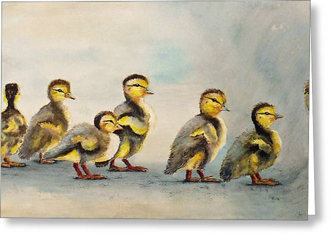 Baby Mallards Paintings Greeting Cards - Obstacle Course Greeting Card by Dee Carpenter