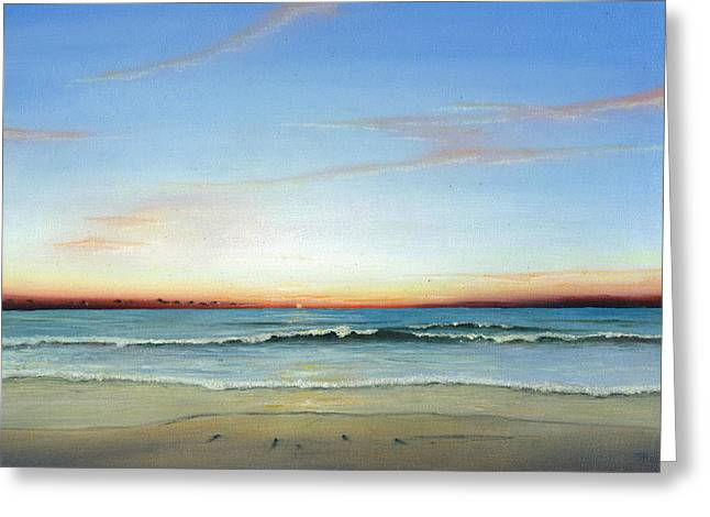 Greeting Card featuring the painting Obx Sunrise by Albert Puskaric