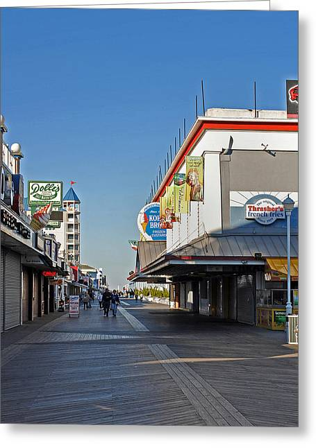 Street Fairs Greeting Cards - Oc Boardwalk Greeting Card by Skip Willits