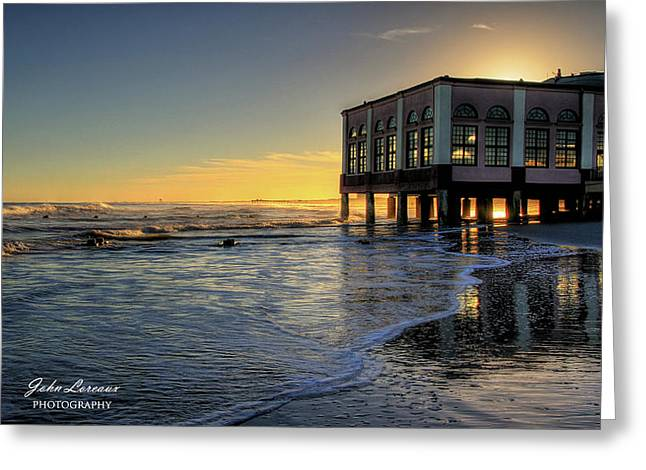 Oc Music Pier Sunset Greeting Card by John Loreaux