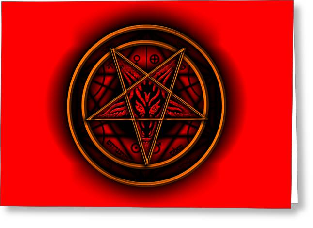 Occult Magick Symbol On Red By Pierre Blanchard Greeting Card