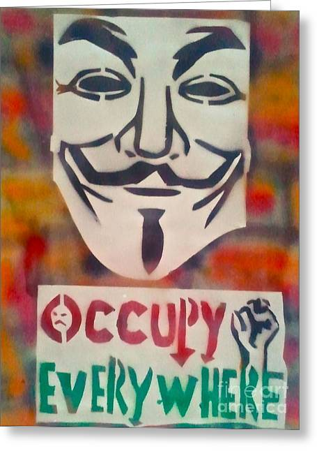99 Percent Greeting Cards - Occupy Mask Greeting Card by Tony B Conscious