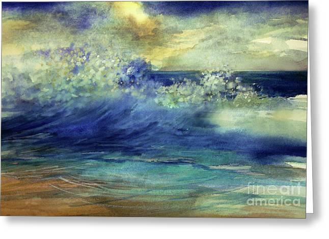 Greeting Card featuring the painting Ocean by Allison Ashton