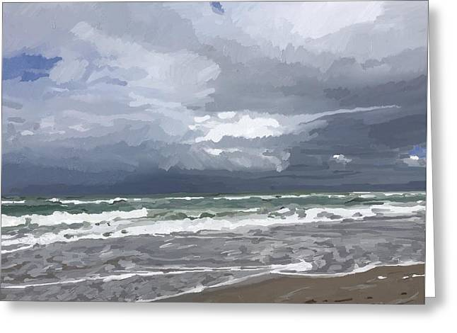 Ocean And Clouds Over Beach At Hobe Sound Greeting Card