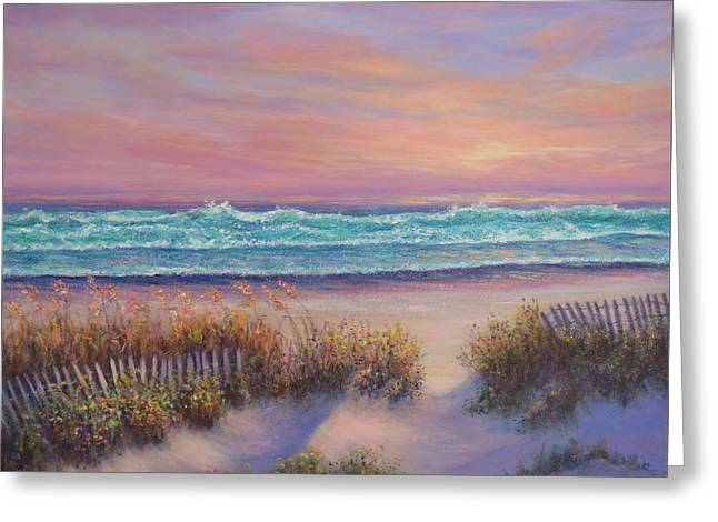 Ocean Beach Path Sunset Sand Dunes Greeting Card