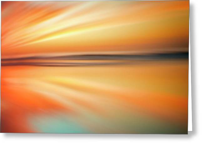 Ocean Beach Sunset Abstract Greeting Card