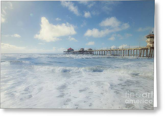 Ocean Blue At The Pier Greeting Card