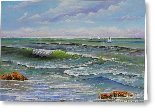 Greeting Card featuring the painting Ocean Breeze by Mary Scott