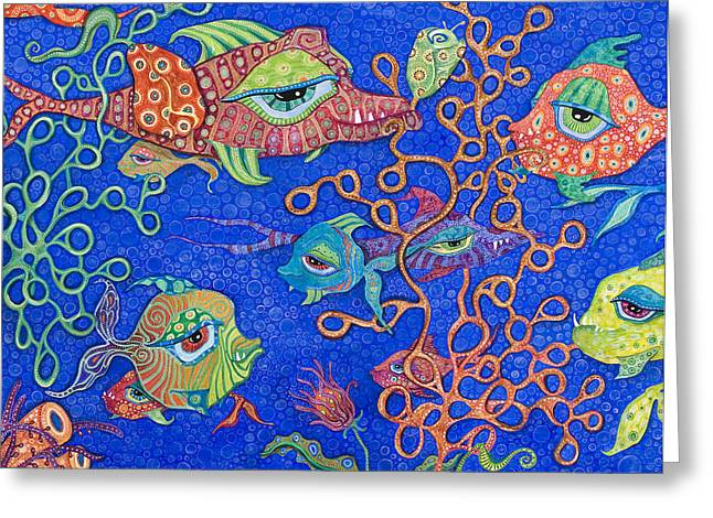 Fish In Ocean Greeting Cards - Ocean Carnival Greeting Card by Tanielle Childers