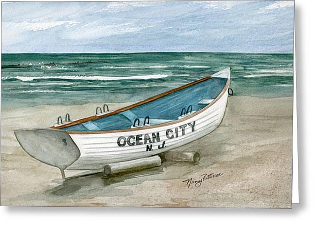 Ocean City Lifeguard Boat Greeting Card