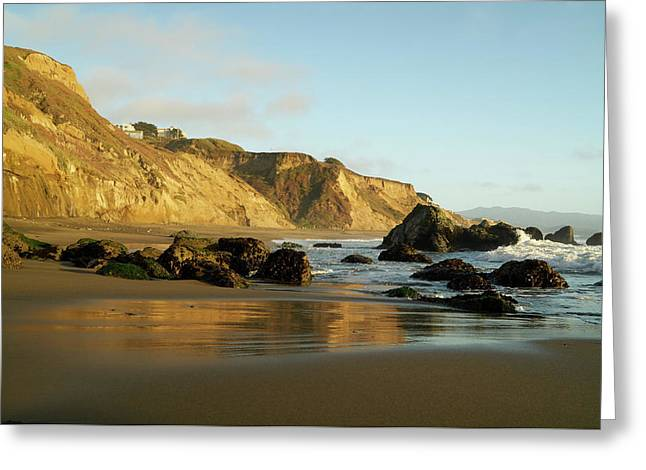 Ocean Cliff Reflections Greeting Card
