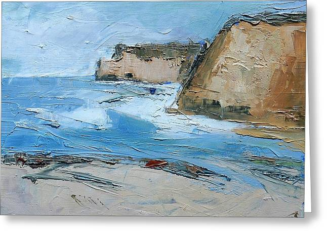 Greeting Card featuring the painting Ocean Cliffs by Gary Coleman
