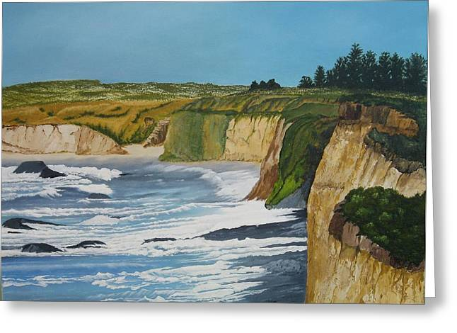 Ocean Cliffs Greeting Card by Joan Taylor-Sullivant
