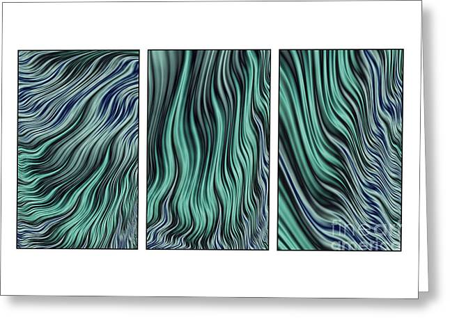 Ocean Currents Triptych Greeting Card