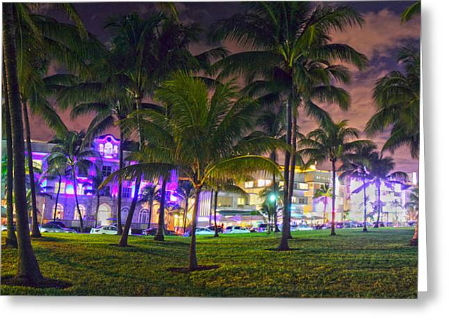 Ocean Drive Miami Greeting Card by Ryan Burton