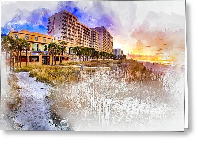 Ocean Drive Sunrise Watercolor Greeting Card
