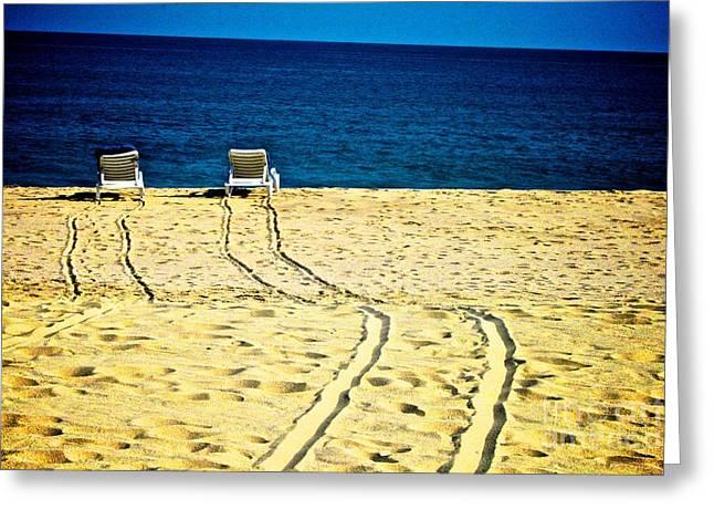 Ocean Front Row Greeting Card by Matthew Keoki Miller