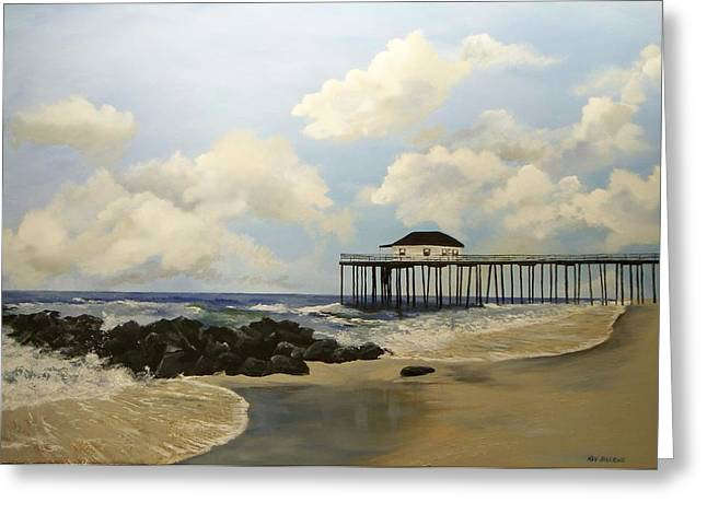 Greeting Card featuring the painting Ocean Grove Fishing Pier by Ken Ahlering