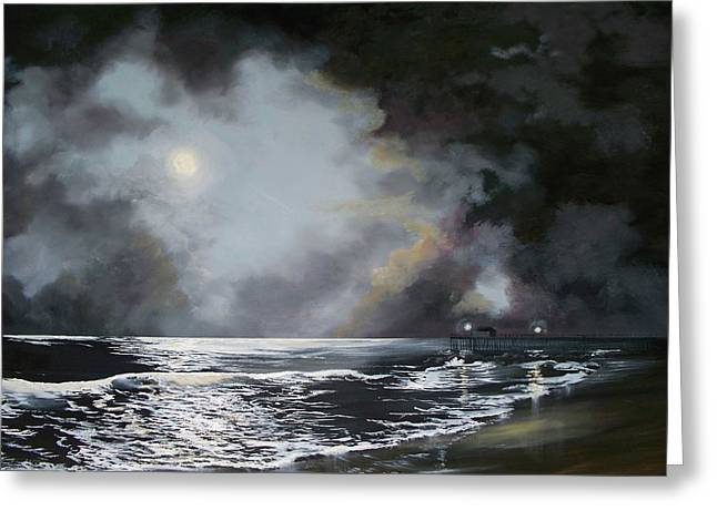 Greeting Card featuring the painting ocean grove moon II by Ken Ahlering