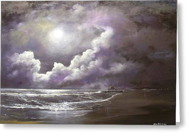 Greeting Card featuring the painting Ocean Grove Moon by Ken Ahlering
