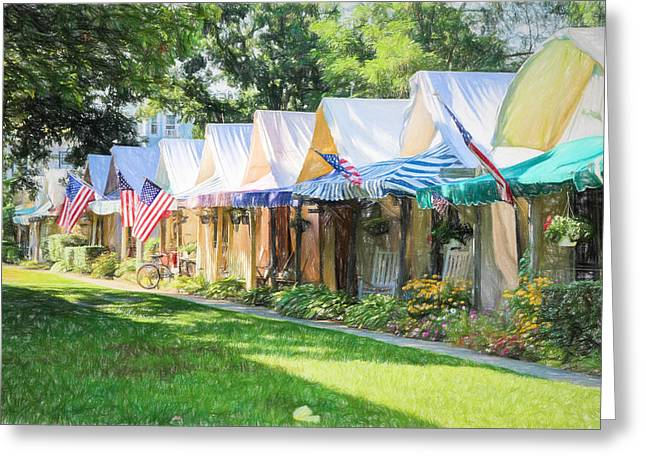 Ocean Grove Tents Sketch Greeting Card by Eleanor Abramson