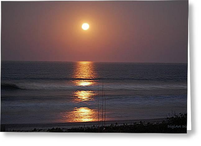 Ocean Moon In Pastels Greeting Card by DigiArt Diaries by Vicky B Fuller