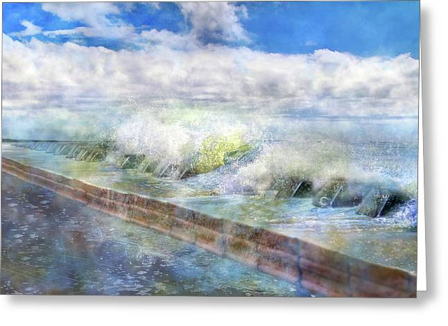 When Waves Tumble Greeting Card by Betsy Knapp