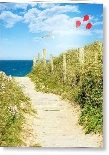 Ocean Path In Cornwall Greeting Card by Amanda Elwell