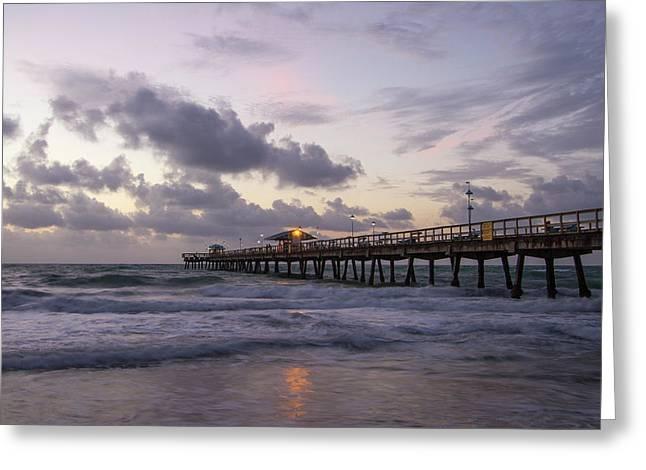 Ocean Pier Sunrise Greeting Card