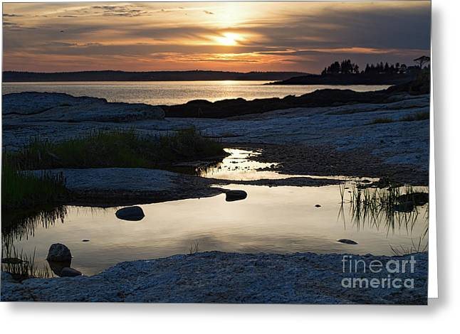 Ocean Point Sunset In East Boothbay Maine  -23091-23093 Greeting Card