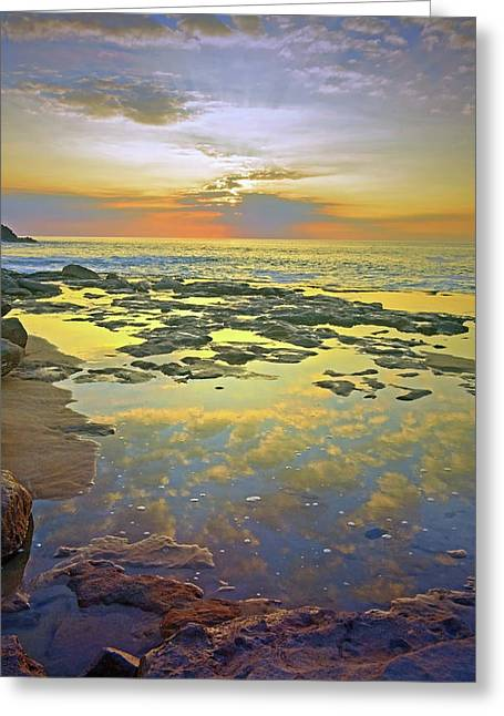Greeting Card featuring the photograph Ocean Puddles At Sunset On Molokai by Tara Turner