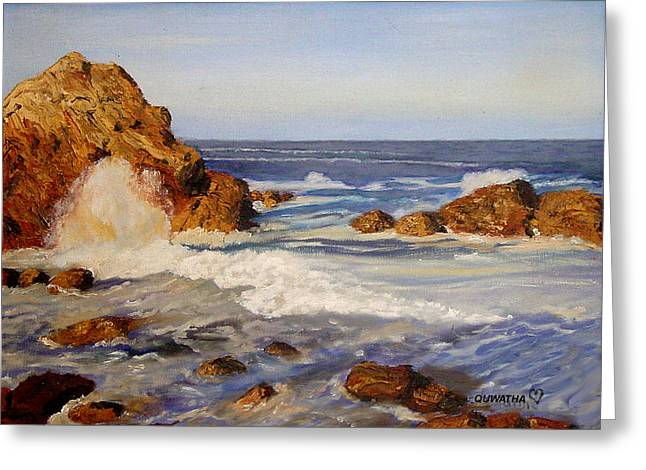 Greeting Card featuring the painting Ocean Rock by Quwatha Valentine