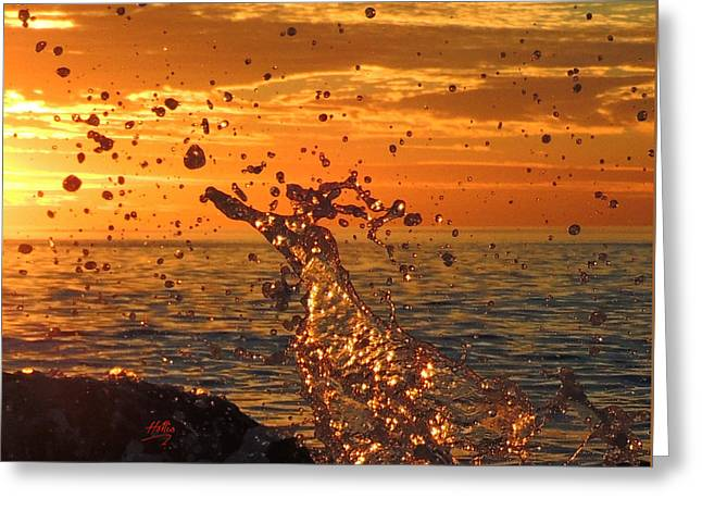 Ocean Splash Greeting Card by L Hollis