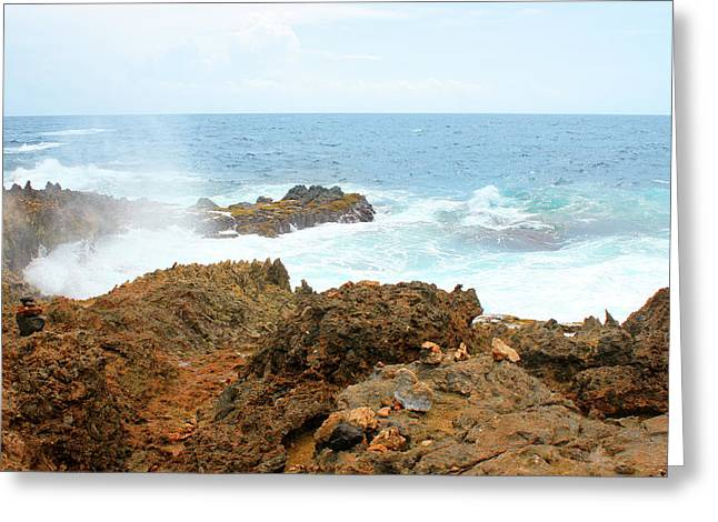 Ocean Spray Off The Rugged Coast Of Aruba Greeting Card by Design Turnpike