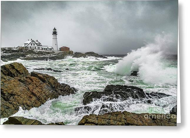 Ocean Storm At Portland Head Greeting Card by Benjamin Williamson