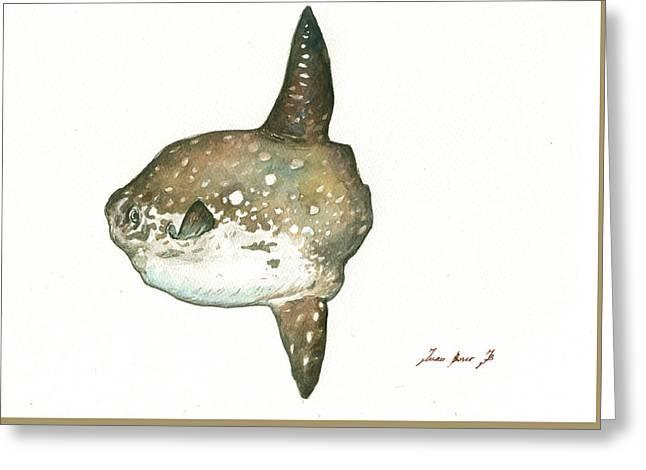 Ocean Sunfish Mola Mola Greeting Card by Juan Bosco