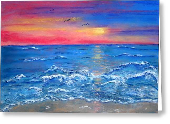 Ocean Sunrise Greeting Card by Sandy Hemmer