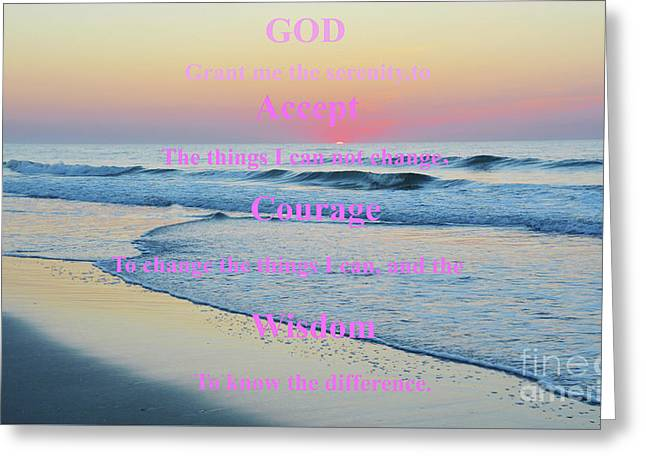Ocean Sunrise Serenity Prayer Greeting Card
