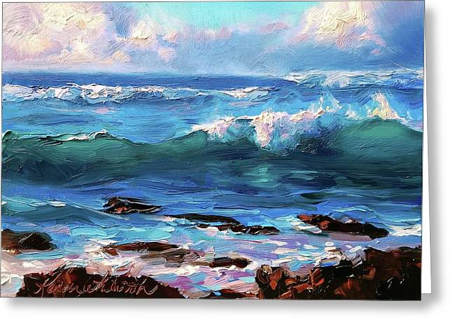 Coastal Ocean Sunset At Turtle Bay, Oahu Hawaii Beach Seascape Greeting Card